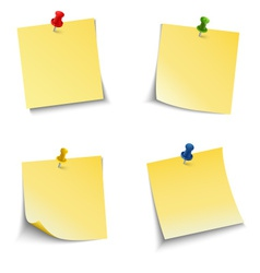 Note paper with push pin vector image