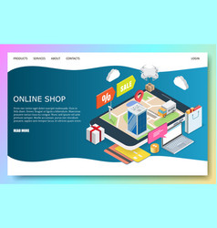 online shop website landing page design vector image