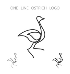 Ostrich One Line Logo Minimalism Style Logotype vector