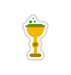 Paper sticker on background of cup potion vector