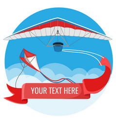 Paraglider and kite with red advertising banner vector