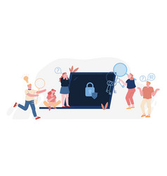 Password and information defend concept users at vector