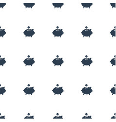 Piggy bank icon pattern seamless white background vector
