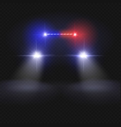 Police car headlight beams isolated on dark vector