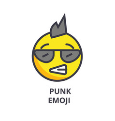 Punk emoji line icon sign on vector