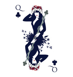 Queen of clubs with flower wreath holding a rod vector