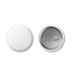 realistic detailed 3d white blank button badge vector image