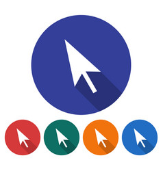 round icon pointer arrow flat style with long vector image