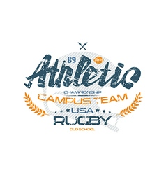 Rugby typographic emblem with shabby texture vector