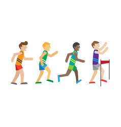 Running competition runners near finish vector
