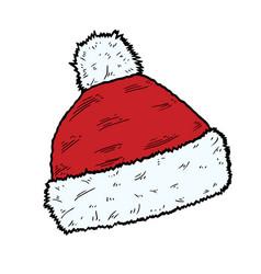 santa hat christmas cap icon vector image