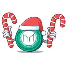 Santa with candy maker coin mascot cartoon vector