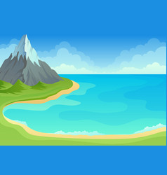 Sea bay with green shore and sandy edge vector