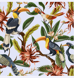 Seamless pattern with birds and tropical leaves vector