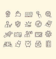 Set linear icons related to approvement vector