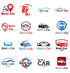 set logos for car rental and sale vector image