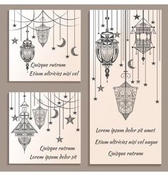Set of greeting cards ethnic ornament in vintage vector image