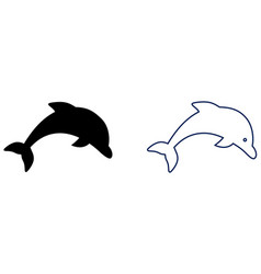 simple dolphin icon filled and blue outline vector image