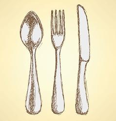 Sketch utencil set in vintage style vector image