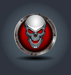 skull rusty iron rounded badge icon for uigame vector image