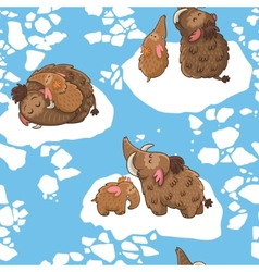 Stylish kids seamless pattern with mammoths in vector