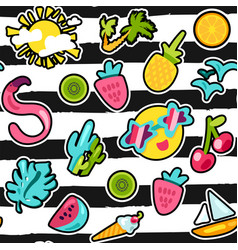 summer patches color seamless pattern vector image