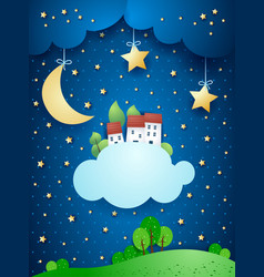 Surreal landscape with moon stars village and vector