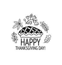 thanksgiving day pie sketch for your design vector image