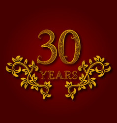 Thirty years anniversary celebration patterned vector