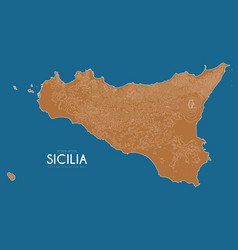 Topographic map of sicilia italy detailed vector