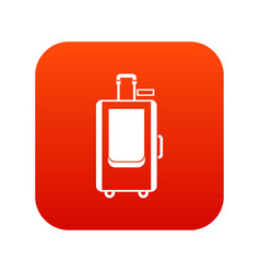 travel suitcase icon digital red vector image