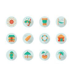 Tropical beach vacation round flat icons vector