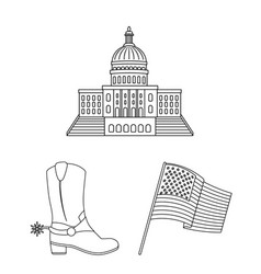 Usa country outline icons in set collection vector