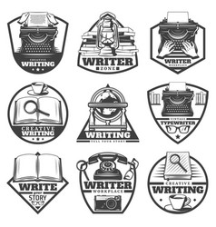Vintage monochrome writer labels set vector