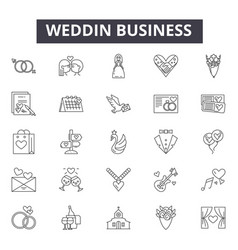 Wedding planning line icons signs set vector