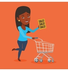 Woman running in hurry to the store on sale vector