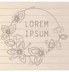 Wooden background with flowers vector