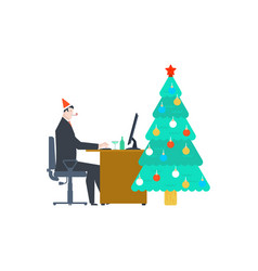 work for christmas businessman at work and vector image