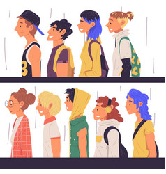 young people different subcultures set side vector image
