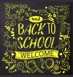 bright back to school doodle on chalkboard vector image vector image
