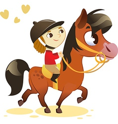 Child Riding Small Horse vector image vector image