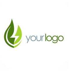eco green leaf energy logo vector image
