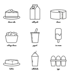 Line art dairy icon set Infographic elements vector image