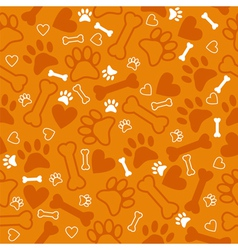 Seamless pattern with dog paw print bone vector image vector image