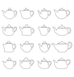 set of outlines of teapots vector image vector image