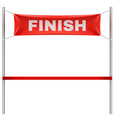 finish line with red textile banner and ribbon vector image vector image