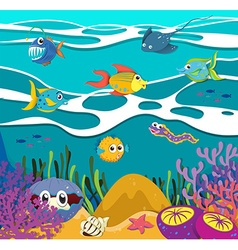 Fish and sea animals underwater vector image vector image