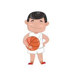 little boy in basketball uniform holding ball vector image vector image