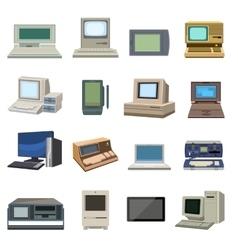 Old vintage computer set vector image