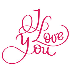 I love you red vintage text calligraphy vector